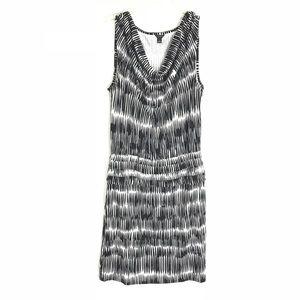 ANN TAYLOR Ikat Shadow Print Pleat Waist Dress S